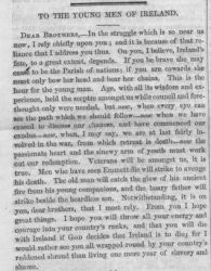 """To the Young Men of Ireland,"" The Irish Felon: Successor to the United Irishman. Vol. 1 No. 5, 1848, page 73."