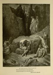 "Dor_Dante_Virgil_and_Bertran_de_Born.jpg<br/><span style=""font-size: 70%;"">Gustave Doré. Virgil, Dante, and Bertran de Born. 'But Virgil roused me: What yet gazest on?/ Wherefore doth fasten yet thy sight below/ Amongst the maim'd and miserable shades!' Inf. XXIX. 4-6. Source: Dante Alighieri, Henry Francis Cary, and Gustave Doré. Inferno. New Edition. New York. P.F. Collier, limited, 1883. Falvey Memorial Library. Special Collections.</span>"
