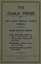 Advertisement for Cuala Press in On the Boiler by William Butler