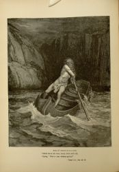 "Dor_Charon.jpg<br/><span style=""font-size: 70%;"">Gustave Doré. Charon ferries souls across infernal river. 'And, lo! towards us in a bark/ comes on an old man, hoary white with eld/crying Woe to you wicked spirits!.' Inf. III 76-78. Source: Dante Alighieri, Henry Francis Cary, and Gustave Doré. Inferno. New Edition. New York. P.F. Collier, limited, 1883. Falvey Memorial Library. Special Collections.</span>"
