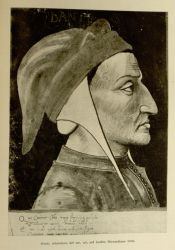 "Dante Portrait.<br/><span style=""font-size: 70%;"">Source: Dante Alighieri, and Corrado Ricci. La Divina Commedia. Milano: U. Hoepli, 1921. Volumes 1-3. Falvey Memorial Library. Special Collections.</span>"