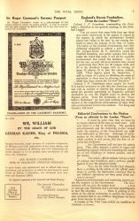 """Sir Roger Casement's German Passport,"" Vital Issue V. 2 No. 19, May 8, 1915, page 4."