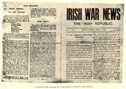 """Irish War News,"" by T. W. Murphy, in Dublin after the Six Days' Insurrection: Thirty-One Pictures From the Camera of Mr. T. W. Murphy, 1916, page 30."