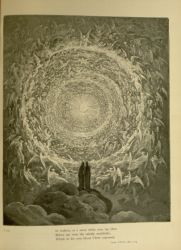 "Dor_Celestial_Rose.jpg<br/><span style=""font-size: 70%;"">Gustave Doré. The Celestial Rose. 'In fashion, as a snow white rose, lay then/ Before my view the saintly multitude/ Which in his own blood Christ espoused.' Par. XXXI. 1-3. Source: Dante Alighieri, Henry Francis Cary, and Gustave Doré. Purgatory and Paradise. new ed. New York: Cassell & company, limited, 1883.</span>"