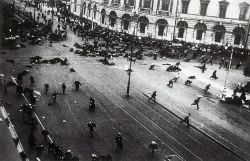 "Petrograd (Saint Petersburg), July 4, 1917. Street demonstration on Nevsky Prospekt just after troops of the Provisional Government have opened fire with machine guns. Image: Author unknown, Public Domain courtesy of <a href=""https://commons.wikimedia.org/wiki/File:19170704_Riot_on_Nevsky_prosp_Petrograd.png"">Wikimedia Commons.</a>"