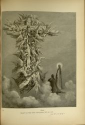 "Dor_heavenly_cross.jpg<br/><span style=""font-size: 70%;"">Gustave Doré. The Ladder. 'Christ/ Beam'd on that cross; and pattern fails me now.' Par. XIV. 96-97. Source: Dante Alighieri, Henry Francis Cary, and Gustave Doré. Purgatory and Paradise. new ed. New York: Cassell & company, limited, 1883. Falvey Memorial Library. Special Collections.</span>"