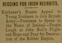 """Begging for Irish Recruits,"" The Gaelic American - Vol. XII, No. 27, July 3, 1915, page 2."