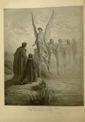 "<span style=""font-size: 70%;"">Gustave Doré. The Penitent at the Shore of Mount Purgatory. 'The heavenly steersman at the prow was seen,/ Visibly written Blessed in his looks.' Purg II. 42-43. Source: Dante Alighieri, Henry Francis Cary, and Gustave Doré. Purgatory and Paradise. new ed. New York: Cassell & company, limited, 1883. Falvey Memorial Library Special Collections.</span>"