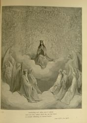 "Dor_Beatrice_in_the_Celestial_Rose.jpg<br/><span style=""font-size: 70%;"">Gustave Doré. The Celestial Rose: Beatrice. 'Answering not, mine eyes I raised,/ And saw her, where aloof she sat, her brow/ A wreath reflecting of eternal beams.' Par. XXXI 64-66. Source: Dante Alighieri, Henry Francis Cary, and Gustave Doré. Purgatory and Paradise. new ed. New York: Cassell & company, limited, 1883.</span>"