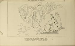 "Flaxman_Cunizza.jpg<br/><span style=""font-size: 70%;"">John Flaxman. The Departure of Cunizza. 'Ceasing to speak, she now the semblance bore/ of one engaged in somewhat else; and thus/ took on the wheel her staion as before.' Par. IX. 64. Source: Dante Alighieri, Ichabod Charles Wright, and John Flaxman. The Divine Comedy. 5th ed. London: Bell & Daldy, 1867. Falvey Memorial Library. Special Collections.</span>"