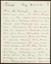 Letter, To: Dear Mr. Gallagher, From: Dougherty, May 30, 1870, front.