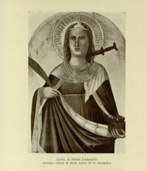 "Lucia_by_Pietro_Lorenzetti_in_Florence.jpg<br/><span style=""font-size: 70%;"">Santa Lucia. Source: Dante Alighieri, and Corrado Ricci. La Divina Commedia. Milano: U. Hoepli, 1921. Volumes 1-3. Falvey Memorial Library. Special Collections.</span>"