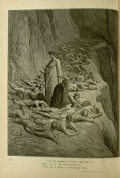 "Dor_Avarious_and_Prodigal_of_Purgatorio.jpg<br/><span style=""font-size: 70%;"">Gustave Doré. Avaricious and Prodigal. 'Up, he exclaim'd, brother! upon thy feet/ Arise; err not; thy fellow servant I,/ Thine and all others, of one Sovran Power.' Purg. XIX. 131-133. Source: Dante Alighieri, Henry Francis Cary, and Gustave Doré. Purgatory and Paradise. new ed. New York: Cassell & company, limited, 1883.</span>"