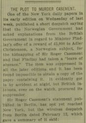 """The Plot to Murder Casement,"" The Gaelic American - Vol. XII No. 10, March 6, 1915, Whole Number 599, page 4."