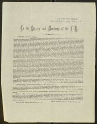 Circular: To the Officers and Members of the F.B., From: James Gibbons, May 28, 1870.