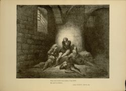 "Dor_Ugolino_and_Sons_locked_in_Tower.jpg<br/><span style=""font-size: 70%;"">Gustave Doré. Ugolino and Sons locked in Tower. 'Then, not to make them sadder, I kept down/ My spirit in stillness.' Inf. XXXIII. 62-63. Source: Dante Alighieri, Henry Francis Cary, and Gustave Doré. Inferno. New Edition. New York. P.F. Collier, limited, 1883. Falvey Memorial Library. Special Collections.</span>"