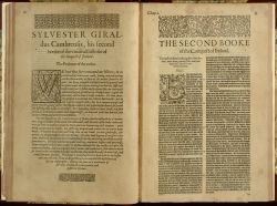 "Second Book of Irish History of Giraldus<br/><small><p><span style=""color: #888888;""><span style=""color: #000000;"">Opening pages of Second Book, Chapter 1: Giraldus Cambrensis, ""The Irish History Composed and Written by Giraldus Cambrensis,"" in <em>The Chronicles of England, Scotland and Ireland</em>, <em>vol. 2</em>, ed. Raphael Holinshed (London, 1587).  <a href=""http://digital.library.villanova.edu/Item/vudl:124078"" target=""_blank"">[Digital Library]</a></span></span></p></small>"