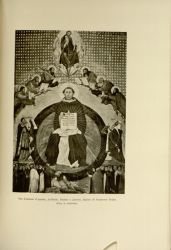 "Francesco. Traini. St. Thomas Aquinas.<br/><span style=""font-size: 70%;"">Source: Dante Alighieri, and Corrado Ricci. La Divina Commedia. Milano: U. Hoepli, 1921. Volumes 1-3. Falvey Memorial Library. Special Collections.</span>"