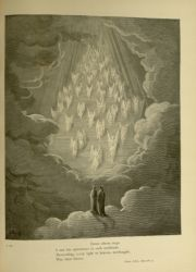 "Dor_ladder.jpg<br/><span style=""font-size: 70%;"">Gustave Doré. The Ladder. 'Down whose steps/ I saw the splendours in such multitude/ Descending, every light in heaven, methought,/ Was shed thence.' Par. XXI. 28-31, Source: Dante Alighieri, Henry Francis Cary, and Gustave Doré. Purgatory and Paradise. new ed. New York: Cassell & company, limited, 1883.</span>"