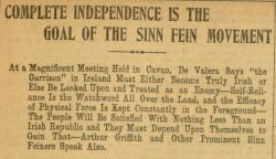 """Complete Independence is the Goal of the Sinn Fein Movement,"" The Gaelic American - Vol. XIV, No. 40, October 13, 1917, Whole Number 734, page 3."