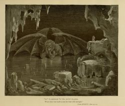 "Dor_Lucifer.jpg<br/><span style=""font-size: 70%;"">Gustave Doré. Lucifer. 'Lo!, he exclaimed, lo! Dis; and lo! the place,/ Where thou hast need to arm thy heart with strength.' Inf. XXXIV. 20-21. Source: Dante Alighieri, Henry Francis Cary, and Gustave Doré. Inferno. New Edition. New York. P.F. Collier, limited, 1883. Falvey Memorial Library. Special Collections.</span>"
