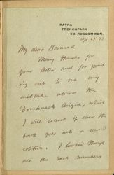 Letter from Douglas Hyde found on the inside cover, Abhráin Dia
