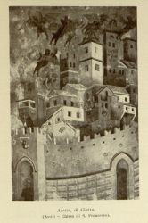 "Giotto's Arezzo<br/><span style=""font-size: 70%;"">Source: Dante Alighieri, and Corrado Ricci. La Divina Commedia. Milano: U. Hoepli, 1921. Falvey Memorial Library. Special Collections.</span>"