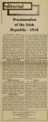 """Editorial: Proclamation of the Irish Republic - 1916,"" April 10, 1982."