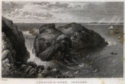 Illustration of Carrick-a-rede in Ireland Illustrated (1834) by G.N. Wright et al.