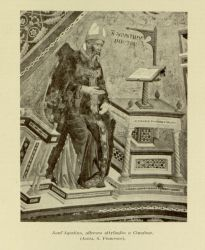 "Cimabue. St. Augustine.<br/><span style=""font-size: 70%;"">Source: Dante Alighieri, and Corrado Ricci. La Divina Commedia. Milano: U. Hoepli, 1921. Volumes 1-3. Falvey Memorial Library. Special Collections.</span>"