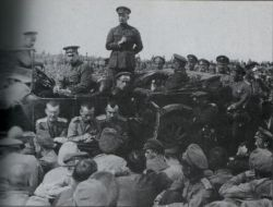 "Kerensky at the front. Image: Author unknown, Public Domain courtesy of <a href=""https://commons.wikimedia.org/wiki/File:K%C3%A9resnkiEnUnDiscursoALosSoldadosDelFrenteMayo1917.png"">Wikimedia Commons.</a>"
