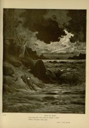 "Dor_Buonconte_on_shores_of_Archiano.jpg<br/><span style=""font-size: 70%;"">Gustave Doré. Buonconte on the shores of Archiano. 'From my breast/ Loosening the cross, that of myself I made/ When overcome with pain.' Purg. V 123-124. Source: Dante Alighieri, Henry Francis Cary, and Gustave Doré. Purgatory and Paradise. new ed. New York: Cassell & company, limited, 1883.</span>"