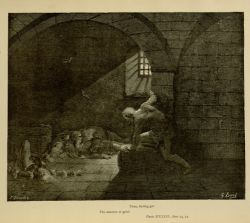 "Dor_Ugolino_in_Tower.jpg<br/><span style=""font-size: 70%;"">Gustave Doré. Ugolino in the Tower. 'Then, fasting got/ The mastery of grief.' Inf. XXXIII. 73-74. Source: Dante Alighieri, Henry Francis Cary, and Gustave Doré. Inferno. New Edition. New York. P.F. Collier, limited, 1883. Falvey Memorial Library. Special Collections.</span>"