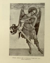 "Francesco Traini. St. Michael.<br/><span style=""font-size: 70%;"">Source: Dante Alighieri, and Corrado Ricci. La Divina Commedia. Milano: U. Hoepli, 1921. Volumes 1-3. Falvey Memorial Library. Special Collections.</span>"