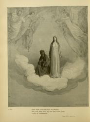 "Dor_Dante_gazes_at_Beatrice.jpg<br/><span style=""font-size: 70%;"">Gustave Doré. Dante gazes at Beatrice. 'Again mine eyes were fix'd on Beatrice/ And, with mine eyes, my soul that in her looks/ Found all contentment.' Par. XXI. 1-3. Source: Dante Alighieri, Henry Francis Cary, and Gustave Doré. Purgatory and Paradise. new ed. New York: Cassell & company, limited, 1883.</span>"