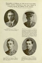 """Biographies of Officers of 11th Royal Irish Rifles (South Antrim Volunteers,) who were killed or wounded during the Battle of the Somme,"" in With the Ulster Division in France, 1918, page 76."