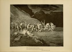 "Dor_Sinners_gathering_at_the_shore.jpg<br/><span style=""font-size: 70%;"">Gustave Doré. Sinners gather at the infernal shore. 'E'en in like manner Adam's evil brood/ Cast themselves, one by one, down from the shore.' Inf. III. 107-109. Source: Dante Alighieri, Henry Francis Cary, and Gustave Doré. Inferno. New Edition. New York. P.F. Collier, limited, 1883. Falvey Memorial Library. Special Collections.</span>"