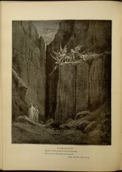 "Dor_Malebranche.jpg<br/><span style=""font-size: 70%;"">Gustave Doré. Malebranche. 'Scarcely had his feet/ Reach'd to the lowest of the bed beneath,/ When over us the steep they reach'd.' Inf. XXIII. 52-54. Source: Dante Alighieri, Henry Francis Cary, and Gustave Doré. Inferno. New Edition. New York. P.F. Collier, limited, 1883. Falvey Memorial Library. Special Collections.</span>"